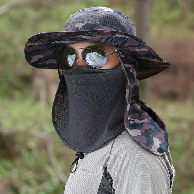 7bbe9620 Men Mesh Camouflage Bucket Hat Wide Round Brim Fisherman Hats Women Neck  Flap Camping Cap Face