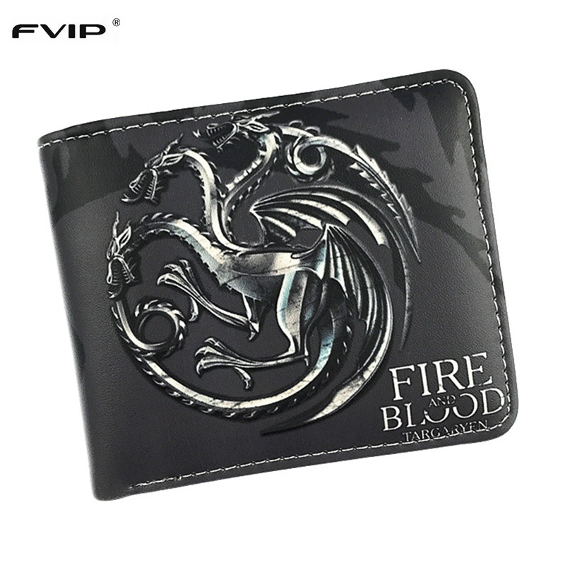 FVIP Game of Thrones Stark Winter is Coming Short Wallets Leather Wallet With Coin Pocket Wolf Wallets For Boys Girls Purse