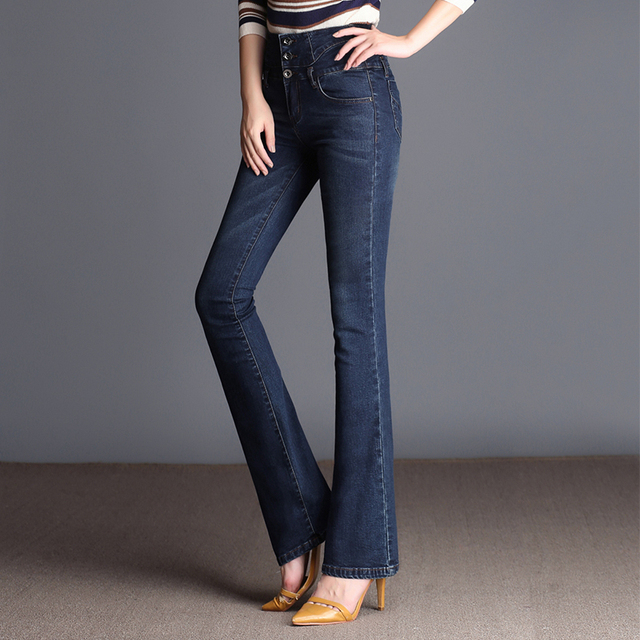 9ad2019daa4 Autumn Winter High Waist Flare Jeans Pants Plus Size Stretch Skinny Jeans  Women Wide Leg Slim Hip Denim Boot Cuts