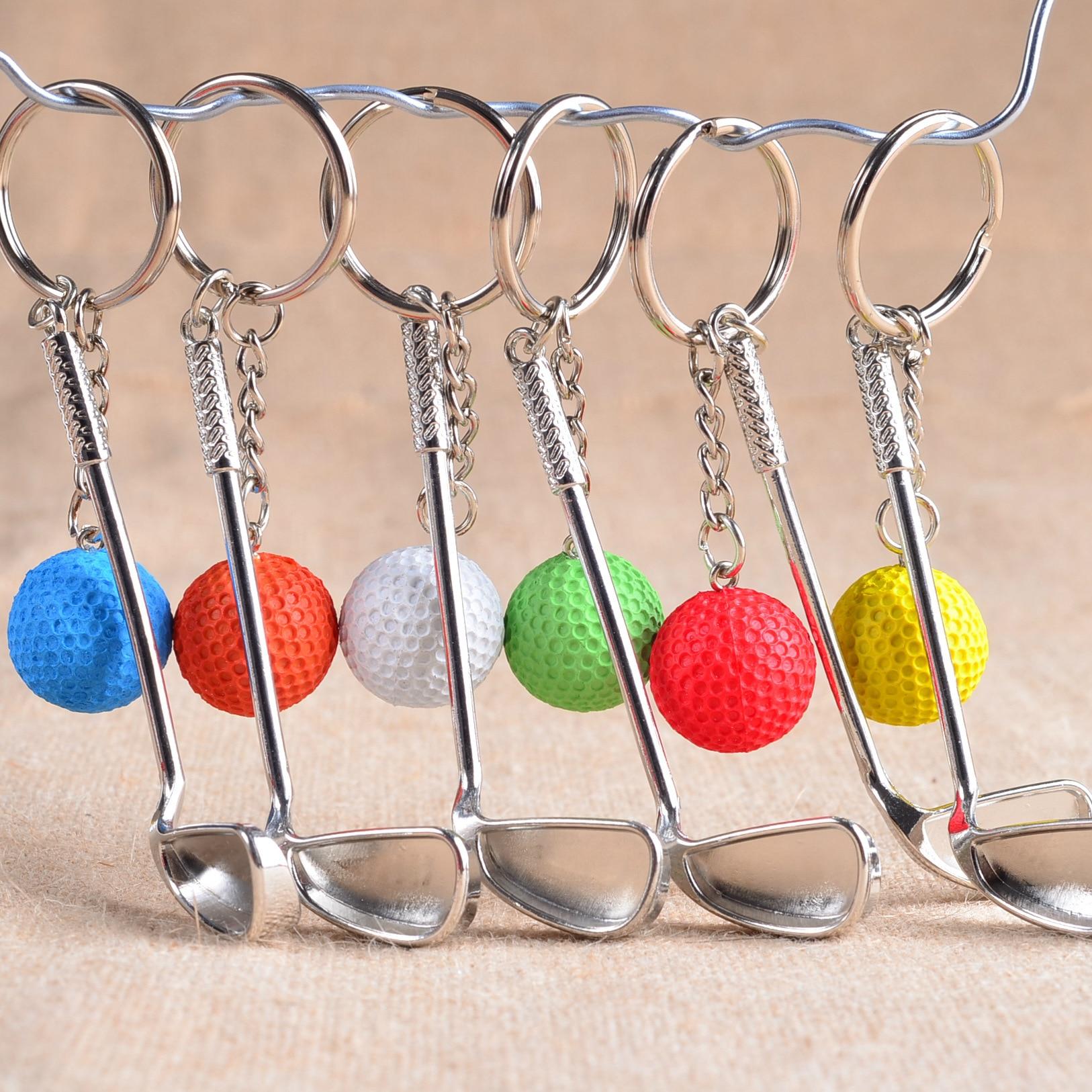 Gros 100 Pcs/Lots métal Golf clé boucle haute qualité articles de sport sport Souvenirs balle porte-clés