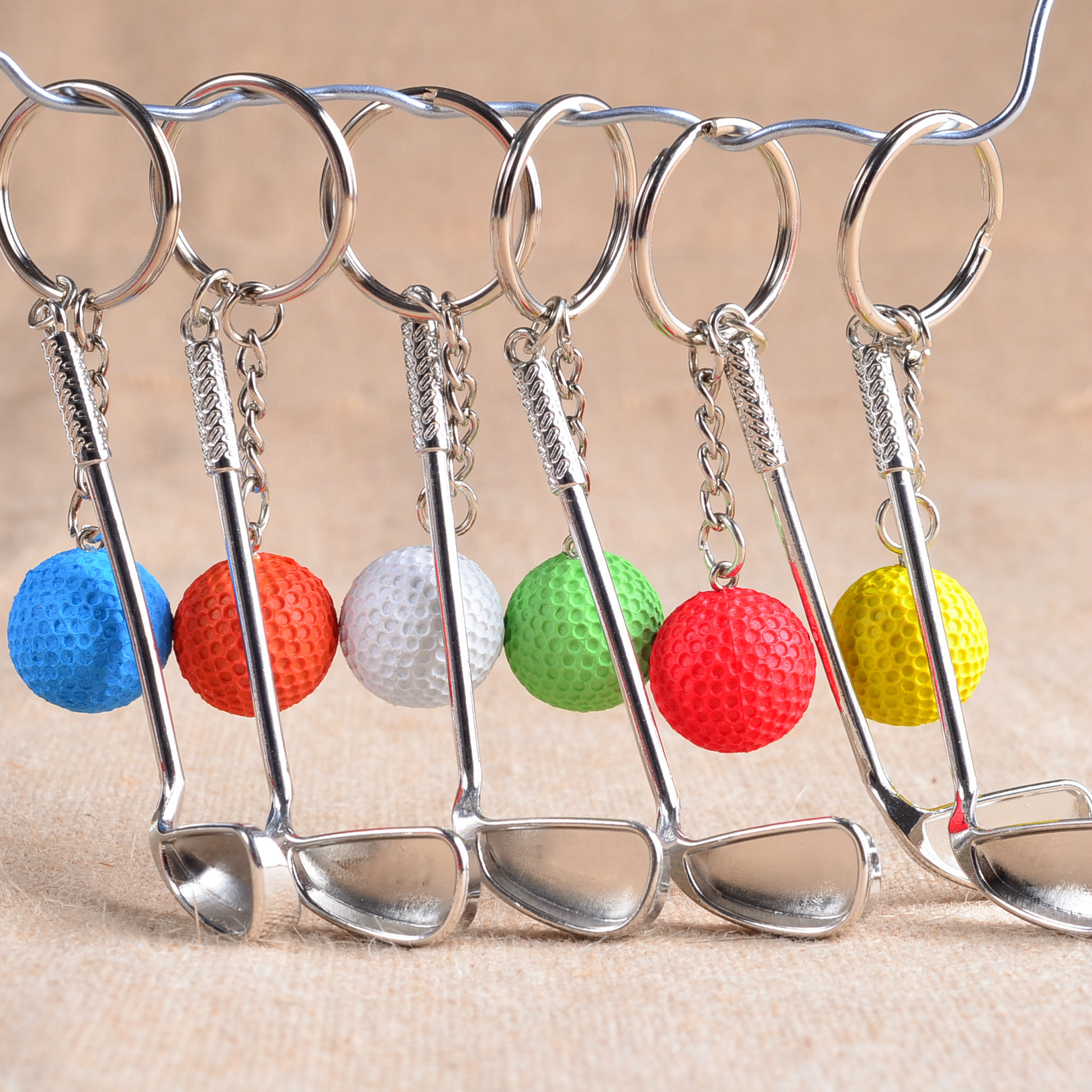 Wholesale 100Pcs/Lots Metal Golf Key Buckle High Grade Sporting Goods Sports Souvenirs Ball Key Ring