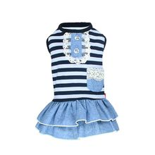 Summer Pet Dog Cute Clothes Costume Stripe Dress Tutu Denim XS- XL Wedding Free Shipping