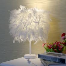 Feather Crystal Table Lamp Light lamp Desk LED Bedside Reading Room For Living Room Lamps Table Modern Bedlamp Lustre Nordic(China)