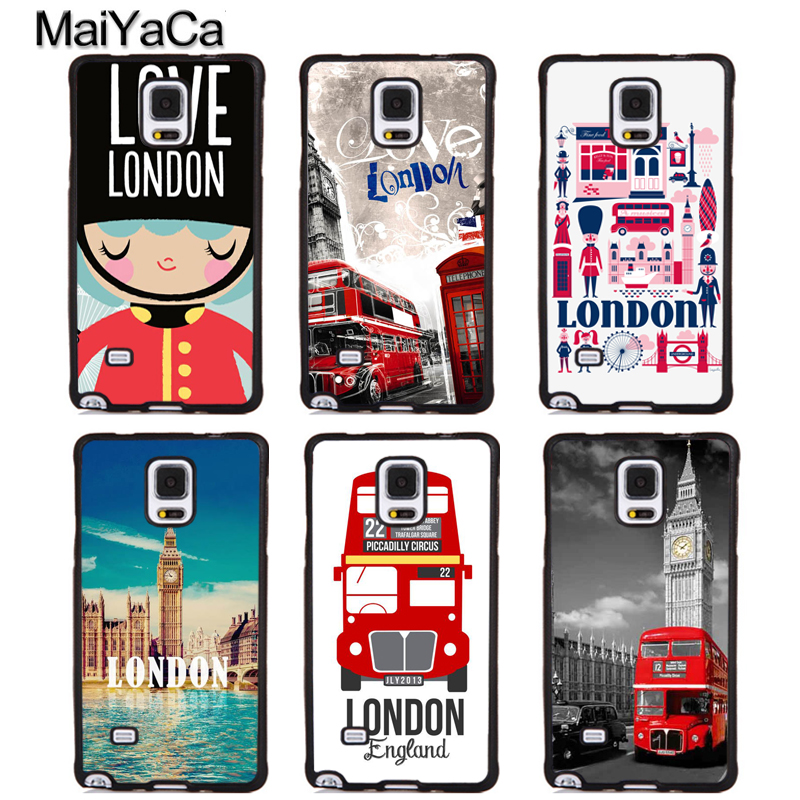 MaiYaCa London big ben Bus Soft Rubber Phone Cases For Samsung Galaxy S5 S6 S7 edge plus S8 S9 plus Note 4 5 8 Back Coque Cover