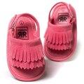 Romirus baby shoes sandálias casuais moda pu tassel sandálias para crianças crianças meninas meninos-vermelho