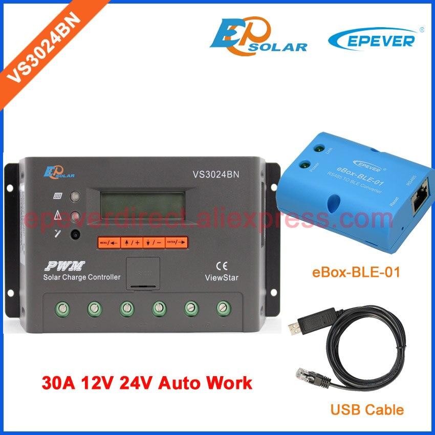 30amp voltage regulator VS3024BN 12V 24V Auto Switch Work USB charger controller solar panels system bluetooth APP use
