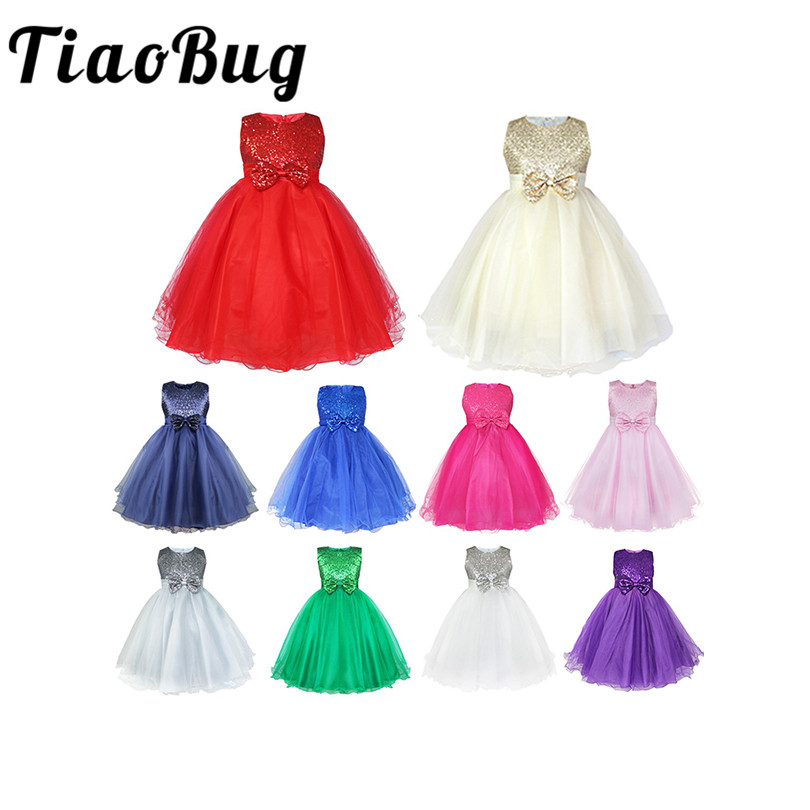 TiaoBug New Flower Girl Dresses Bowknot Sequin Real Party Pageant Communion Dress Little Girls Kids Tulle Prom Gown for Wedding