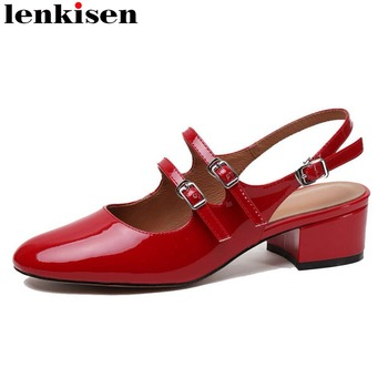 Lenkisen young girls genuine leather chunky heels square toe buckle strap slingback women pumps retro dating Mary Jane shoes L17