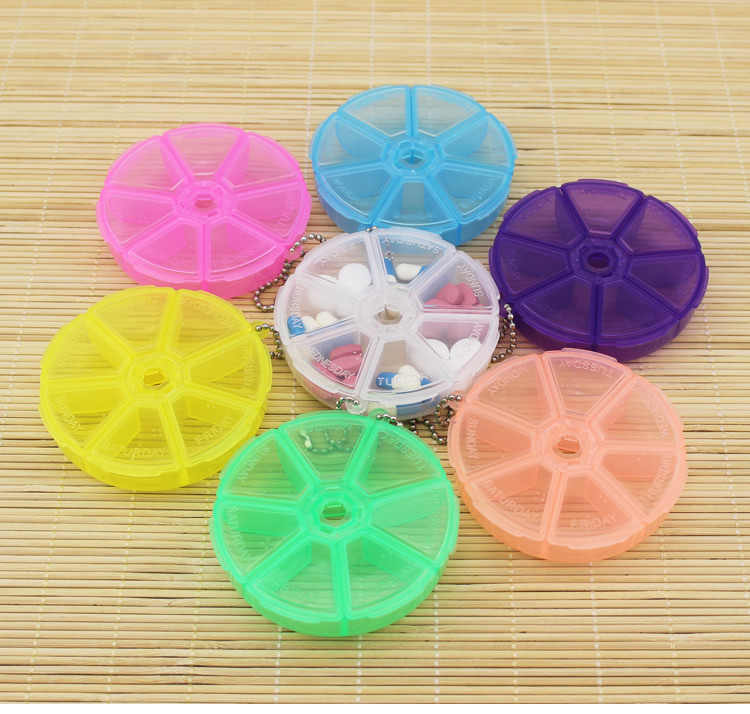 Weekly Portable Travel Mini Cute Plastic Pill Box Medicine Case For Healthy Care Empty Rotatable Pill Holders