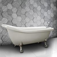 UK Shipping Freestanding Traditional Bath Tub Slipper White 230 Litres Acrylic Gloss Cast Stone Luxury Bathtub