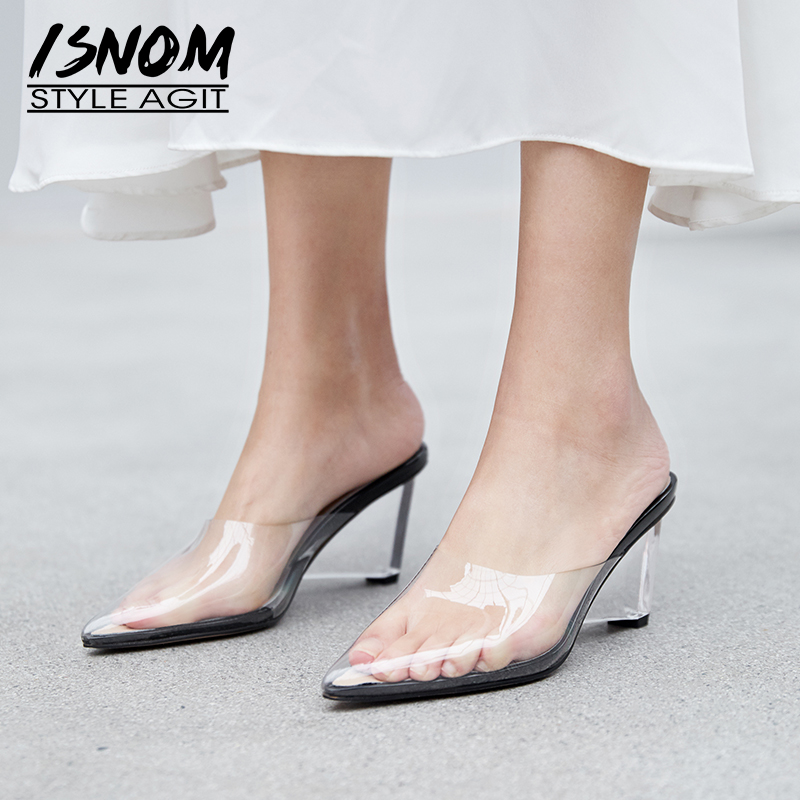 Isnom 여름 투명한 비정상적인 발 뒤꿈치 높은 슬리퍼 여자 지적 발가락 신발 패션 pvc 여성 슬라이드 신발 뮬 신발 여성-에서슬리퍼부터 신발 의  그룹 1