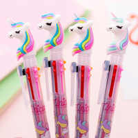 Kawaii Pink Unicorn Transparent 6 Colors Ballpoint Pens for Writing Cute Multi-function Handle Creative Stationery School Supply
