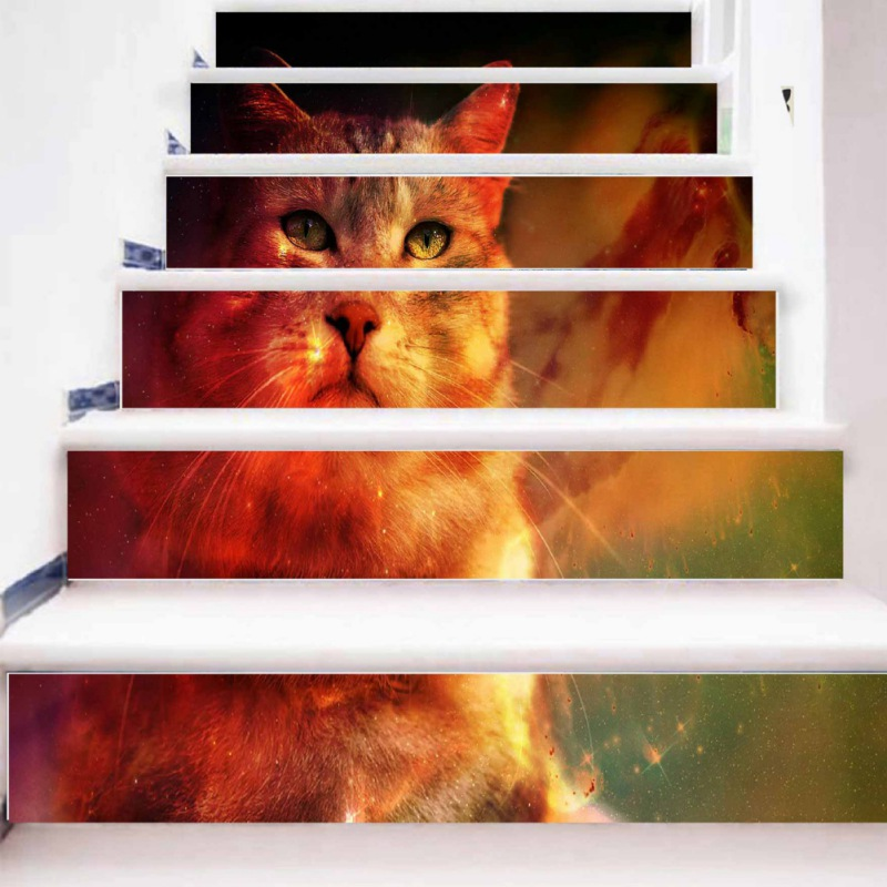 Home Decor The Best Wall Stickers 3d Bookshelf Cat Tiger Self-adhesive Staircases Sticker Diy Decoration For Hallway Step Floor
