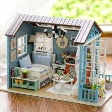Diy деревянный дом мебель миниатюры Casas En Miniatura ручной работы строительные модели подарок на день рождения головоломки игрушки для детей