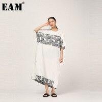 [EAM] 2019 New Spring Summer Round Neck Half Sleeve Dot Pattern Printed Loose Big Size Long Dress Women Fashion Tide JT978