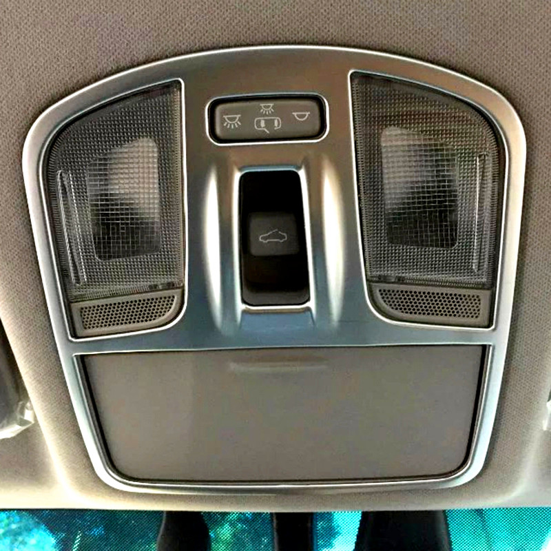 For Hyundai Elantra Avante 2016 2017 6th 2pcs ABS Chrome Matte Car Interior Reading Light Lamp Molding Trim Cover Protectors