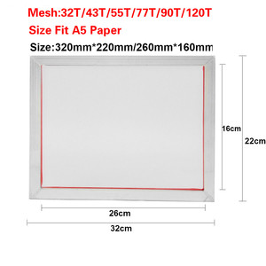 Image 2 - 2 قطعة A5 شاشة الطباعة الألومنيوم الإطار امتدت 32*22 سنتيمتر مع 32T 120T الحرير طباعة البوليستر شبكة ل لوحات الدوائر المطبوعة
