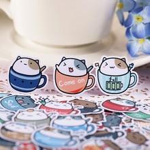 40 pçs criativo bonito auto-feito copo de café gato adesivos scrapbooking adesivos/adesivo decorativo/diy artesanato álbuns de fotos