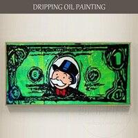 Nghệ Sĩ có tay nghề Tay sơn Tường Nghệ Thuật Graffiti Dollar Tranh Sơn Dầu trên Vải Trang Trí Nội Thất Tiền Dollar Sơn Graffiti Tranh