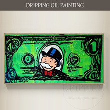 Skilled Artist Hand-painted Wall Art Graffiti Dollar Oil Painting on Canvas Home Decor Money