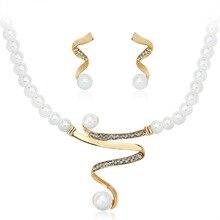 Люкс для Жемчуг Ювелирные Наборы Для Женщин Позолоченные Полный Горный Хрусталь Имитация Металлической Ленты Подвеска Choker Necklace Earring Set