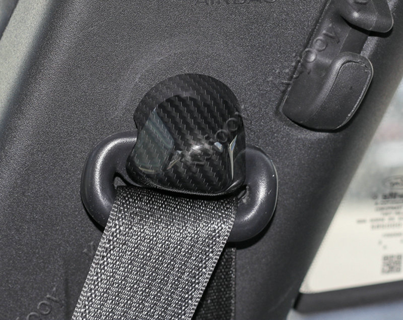 Carbon Fiber Grain Car Seats Safety Belt Button Cover Trim Frame Sticker For Ford Mustang 2015-2017 Car Styling