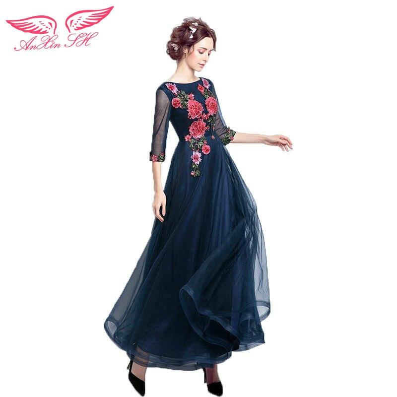 66f4e4c716 AnXin SH azul cena partido etapa de rendimiento vestido de noche princesa  flor invierno vestido de noche de la novia 6012