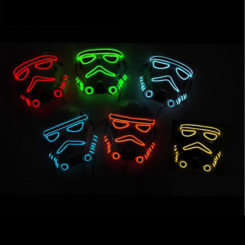 GNHYLL 10 color fashion Movie Theme Halloween Mask EL Wire LED Neon light Glow Party Mask Powered by 2AA Battery