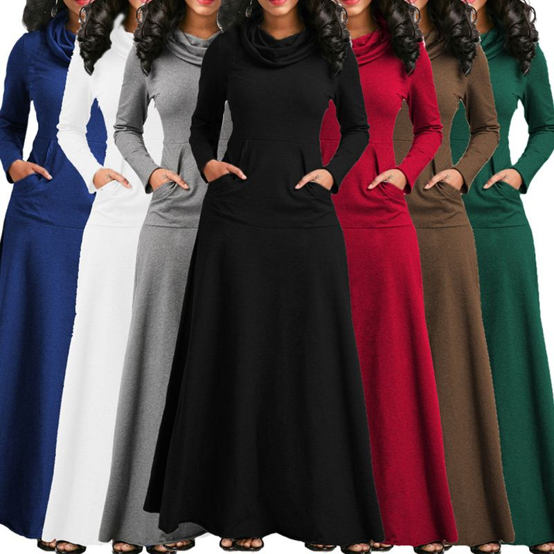 2019 Nova Moda Elegante Mulheres Vestido Quente Bolso Casual Soild Manga Longa Vestidos Vintage Vestidos Plus Size S-5XL