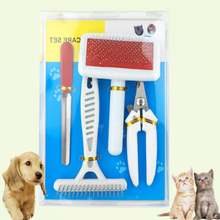 4pcs/set pet dog cat Stainless Steel Dog Combs Nail File Clipper Cleaning Massage Brush Grooming Supplies Pet Products