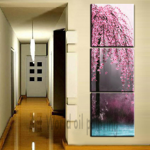 3 pieces canvas wall art canvas painting vertical peach tree landscape for wall pictures for living