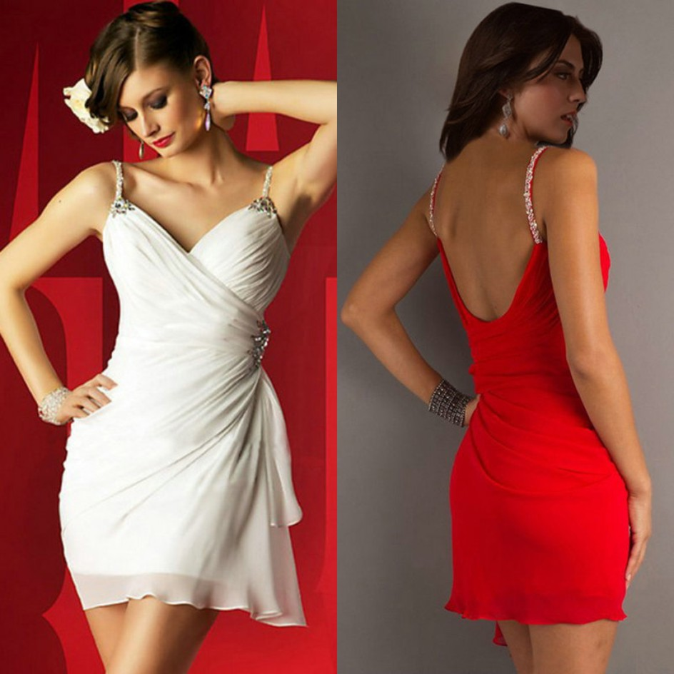 Sweetheart Short Mini White Chiffon Spaghetti Straps Red Homecoming Cheap   Bridesmaid     Dresses