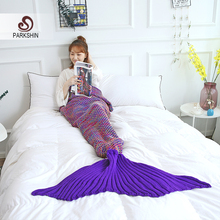 купить Parkshin 2019 Hot Sale Knitted Mermaid Tail Blanket Adult/Child Mermaid Blanket Knit Cashmere-Like TV Sofa Blanket Wholesale дешево