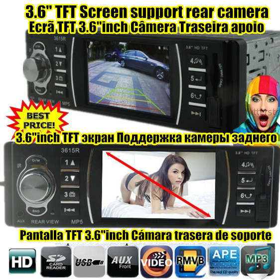 New 3.6 ''TFT HD Car Audio radio Stereo Jogador MP5 MP4 12 V Vídeo e Áudio do carro MP5 FM USB/SD/1 Din In-Dash Câmera traseira apoio 3615R