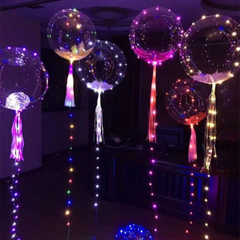 10psc18-inch прозрачный Bobo День Рождения украшения свадебные макет светодиодный фонарь светящиеся линии шары игрушка шар оптовая продажа