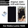 100% испытания хорошей оригинальный замена для Nokia Lumia 1020 ЖК ассамблею сенсорный дигитайзер с рамкой