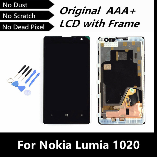 100% probó bueno Original LCD de repuesto para Nokia Lumia 1020 LCD táctil digitalizador asamblea de pantalla con marco