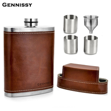 GENNISSY 10oz Leather Covered Hip Flask With Caps Stainless Steel Flask For Alcohol Outdoor Travel Essential Goods For Men цены онлайн