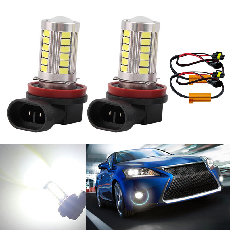 DOTAATDW 2x Super White <font><b>H8</b></font> H11 <font><b>CREE</b></font> Chip 5630 <font><b>LED</b></font> Fog Light Driving Bulbs No Error For Audi A3 A4 A5 S5 A6 Q5 Q7 TT image