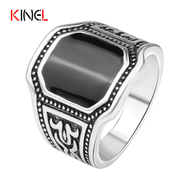 Plated Silver Black Cut Ring Men Cool Ox Totems Steampunk Charms Jewelry Vintage