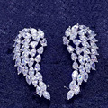 clear white stone with white gold plated micro pave setting angel wings ear cuff earrings feather free shipping