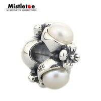 Authentic 925 Sterling Silver Vintage Flowers Triple Pearl Charm Bead Fit Pandora Troll Bracelet Jewelry