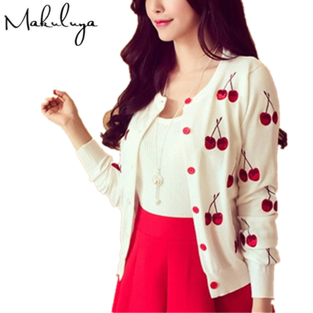 Makuluya Autumn Spring Women Sweater Cherry Embroidery Pattern All-match Jacket Coats Long Sleeve Short Knitting Cardigans BKQW