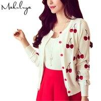 The New Spring Sweater Dress Embroidery Pattern Cherry Slim Slim All Match Knit Cardigan Jacket Dress