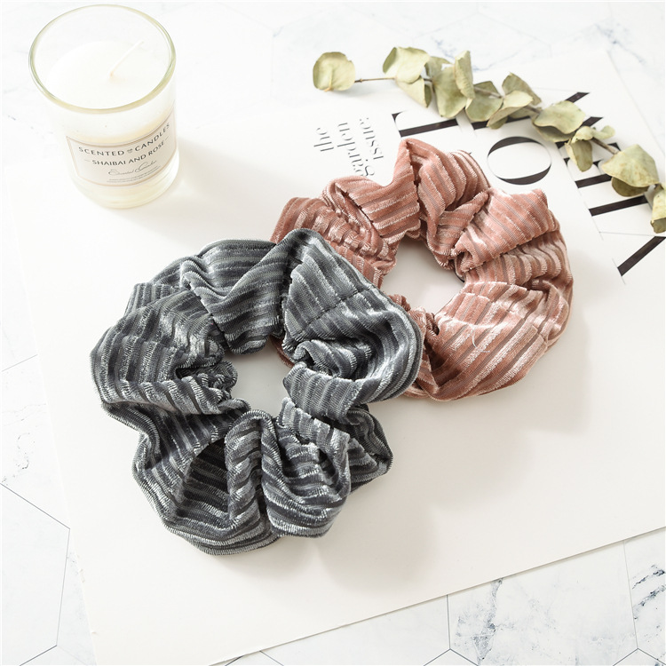 1 PC Large Size Stripe Velvet Scrunchies Ponytail Holder Tail Wrap Elastic Hair Bands  Hair Band Accessories