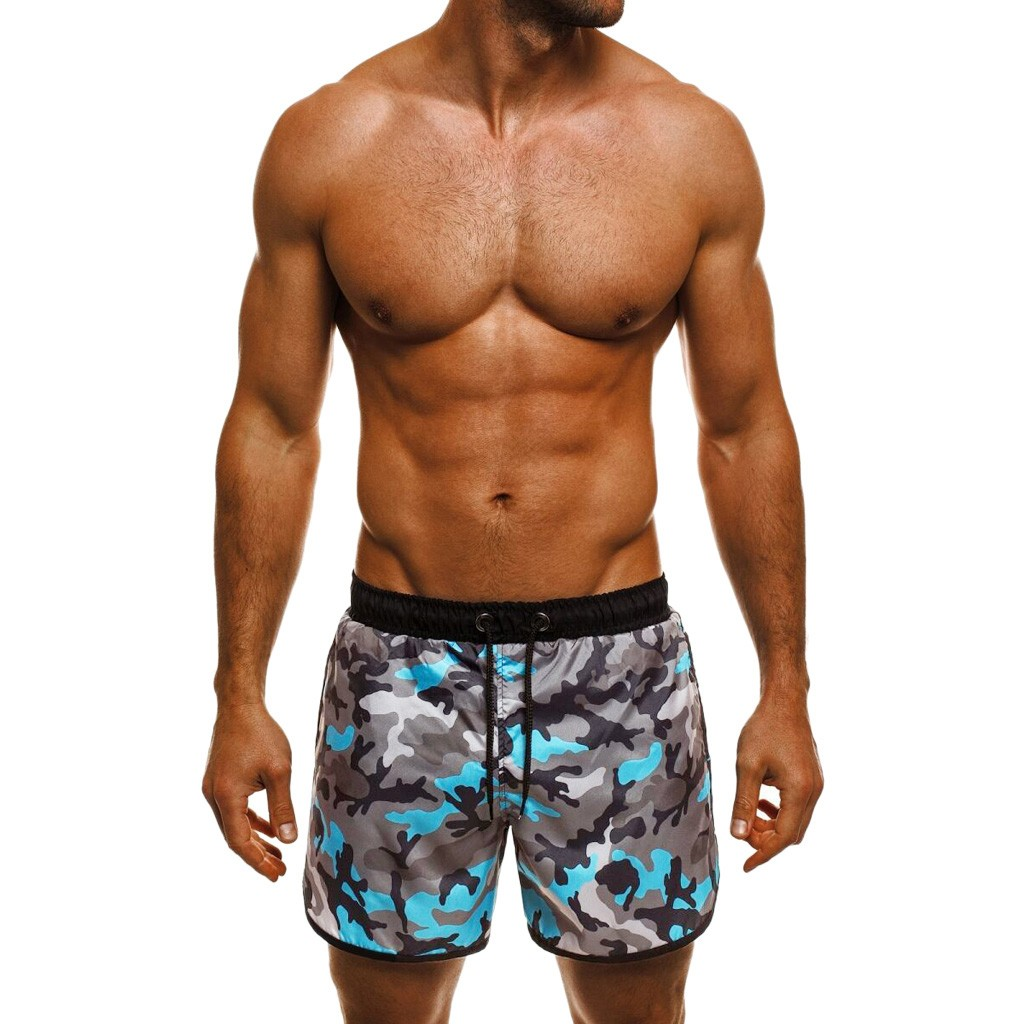 Mens Swimming Trunks Men Casual Board Shorts Summer Pants 2019 Camouflage Graffiti Printed Beach Shorts Elastic Waist Short Men Last Style Board Shorts