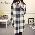 XXXL 4XL 5XL Plus Size Women Blouses 2017 Spring Turn-down Collar Long Sleeve Single-breasted Loose Casual Long Plaid Shirt