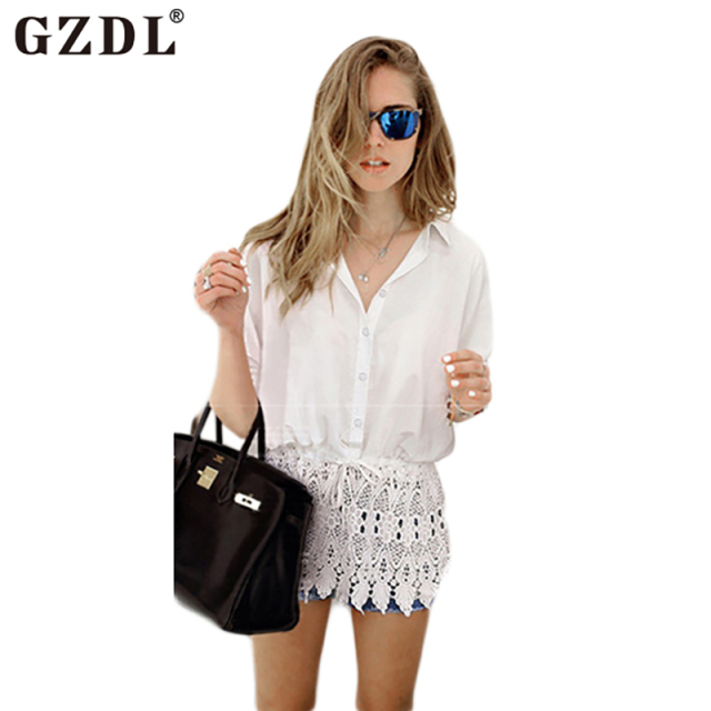 Casual Women Turn Down Collar Crochet Loose Peplum Summer Chiffon Button Up Blouse Tops Shirt Tunic Camisa Feminina CL1915