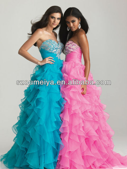 OEP583 Organza Ruffles Bling Bling Prom Dress-in Prom Dresses from ...