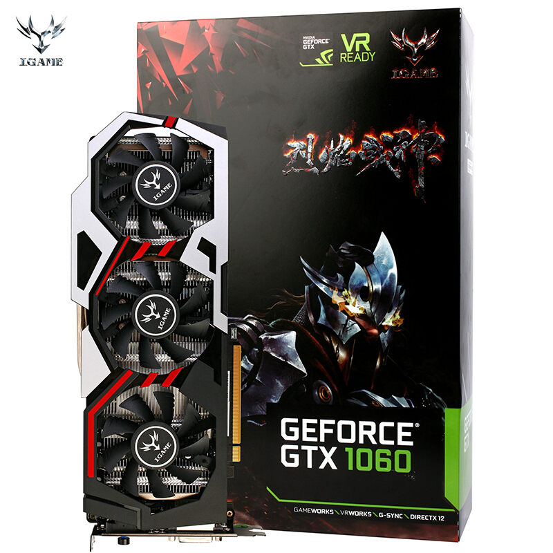COLORFUL GPU IGame Ymir GTX1060 U6GD5 Top GDDR5 Three Fans One-Key Over Clock 1506-1809MHz 192 Bit DirctX 11 3* DP 1*HDMI DVI-D